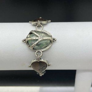 Lucky Brand Silver Tone Chain Bracelet Peace Sign